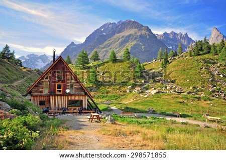 Hotel in alps, Valley of Aosta, Italy - stock photo