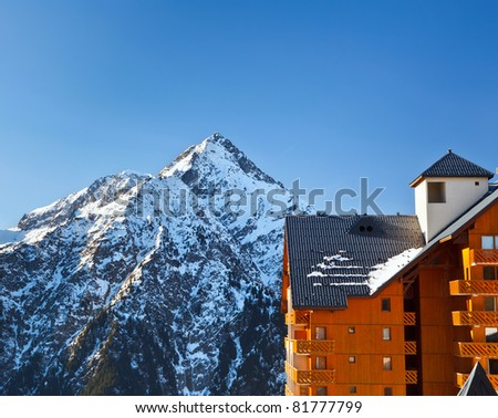 Hotel in French Alps - stock photo