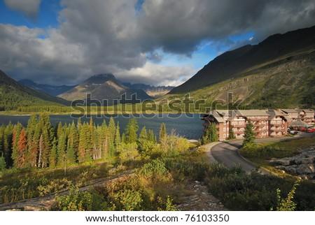 Hotel in Glacier National Park - stock photo