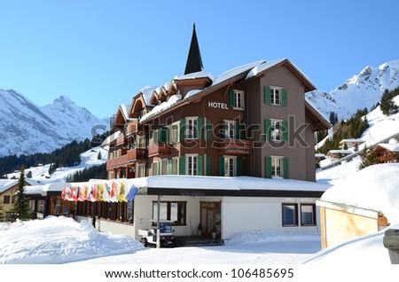 Hotel in Muerren, famous Swiss skiing resort - stock photo