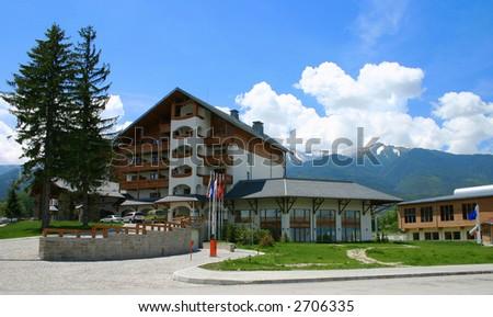hotel in the bulgarian mountain resort of bansko - stock photo