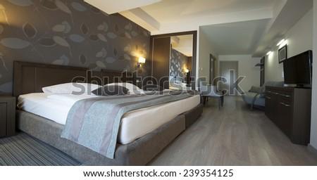 hotel interior apartment bedroom  - stock photo