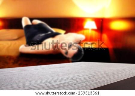 hotel interior of room and dark brown desk top  - stock photo