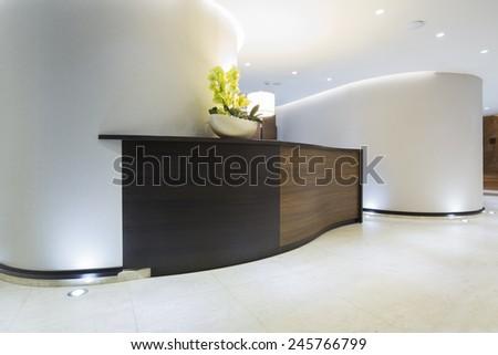 Hotel interior - reception area - stock photo