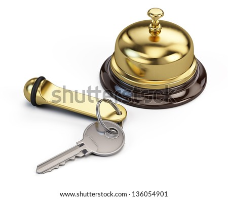 Hotel key and reception bell - stock photo