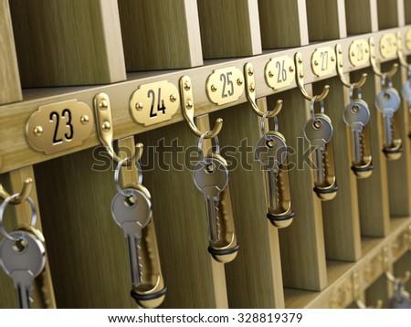 Hotel keys at reception - stock photo