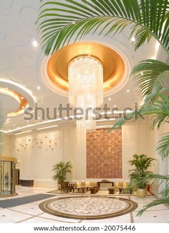 hotel lobby - stock photo
