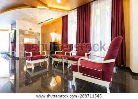 Hotel lobby cafe - stock photo