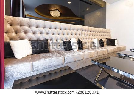 Hotel lobby cafe interior - stock photo
