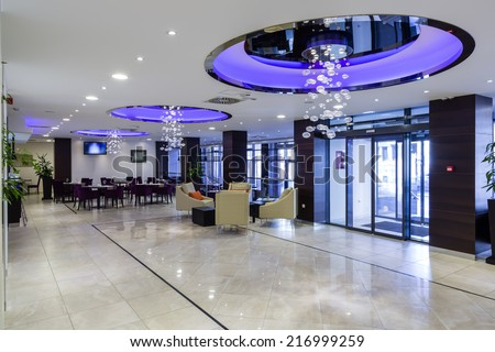 Hotel lobby hall interior - stock photo