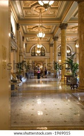 hotel lobby (vertical) - stock photo