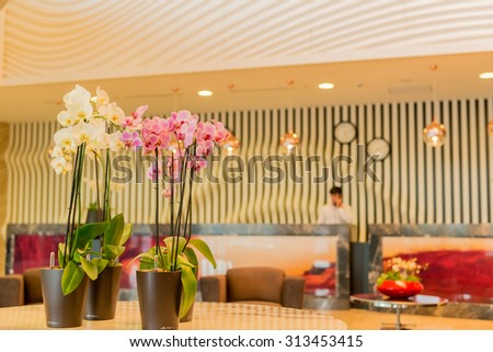 Hotel lobby with modern design - stock photo