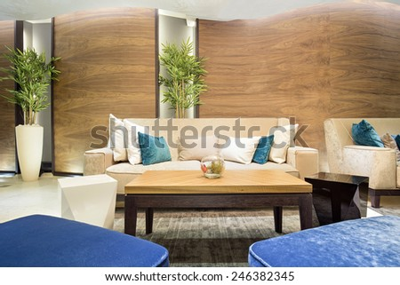 Hotel lounge cafe interior - stock photo