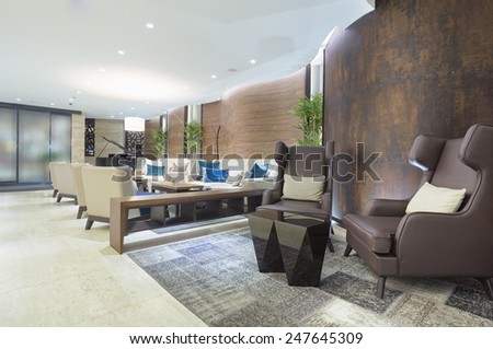 Hotel lounge cafe interior - stock photo