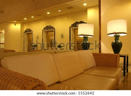 Hotel lounge elevators interior
