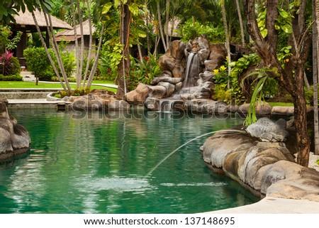Hotel on Amed beach. Bali island. Indonesia - stock photo