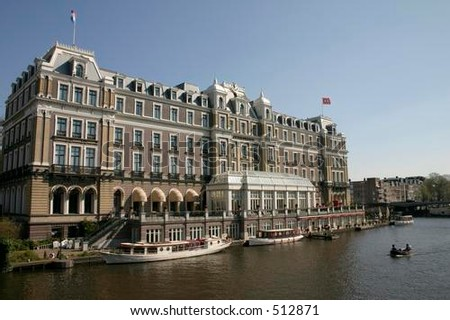 Hotel on the bank of the River Amstel