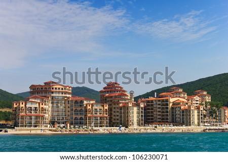 Hotel on the beach - stock photo