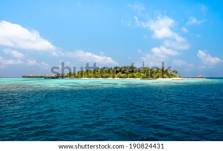 Hotel on the island. Maldives Indian Ocean - stock photo