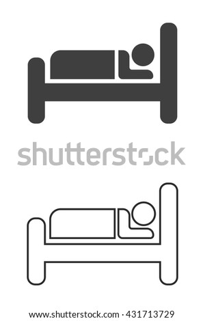 hotel or guesthouse sign icon - sleeping place - stock photo