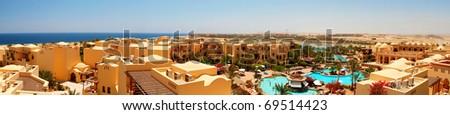 hotel panoramic - stock photo