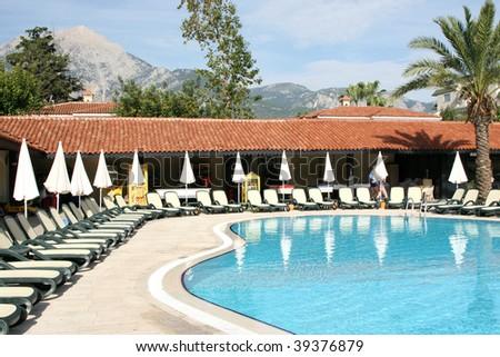 hotel pool - stock photo