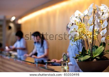 hotel reception - stock photo