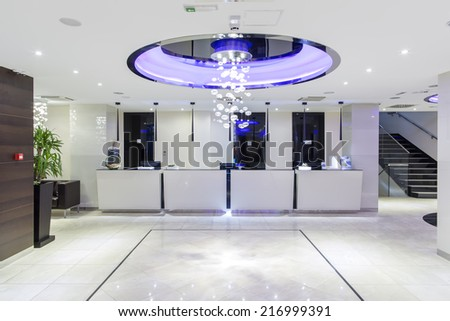 Hotel reception and lobby hall - stock photo