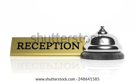 Hotel reception bell and Reception card isolated on white