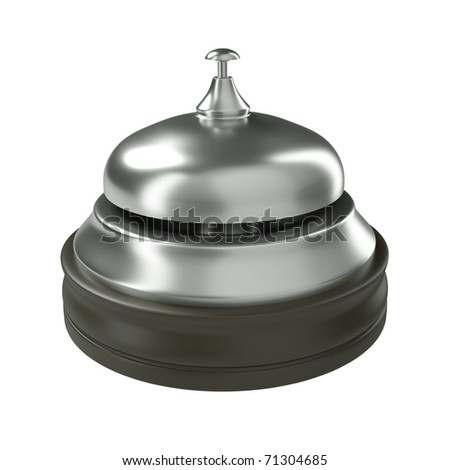 Hotel reception bell isolated on white. 3D render