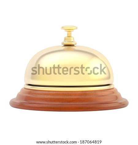 Hotel reception bell made of wood and golden metal, isolated over the white background, side view