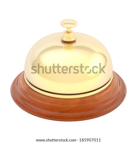 Hotel reception bell made of wood and golden metal, isolated over the white background, view above - stock photo
