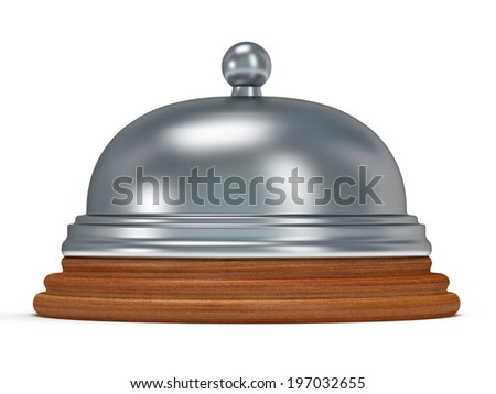 Hotel reception bell with metal body on wooden base. 3d render. Vacation, travel, service concept.
