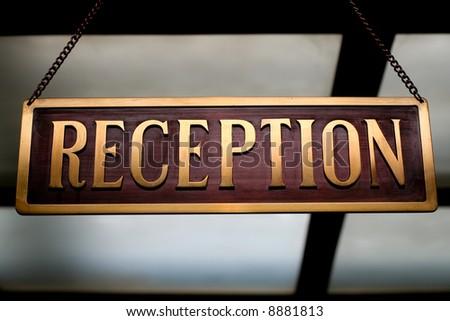 Hotel Reception desk sign.  travel concept - stock photo