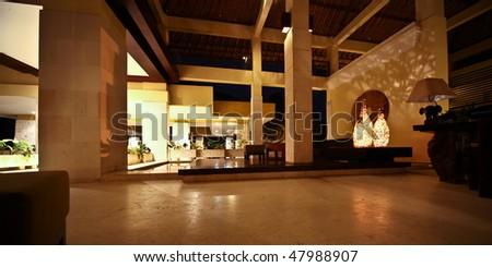 hotel reception in Bali - stock photo