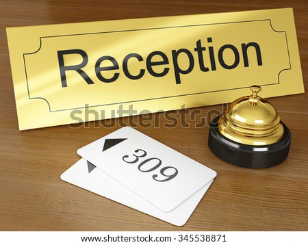 Hotel reception with golden bell ring - stock photo