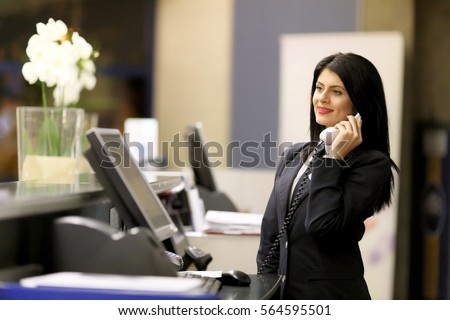 Receptionist stock images royalty free images vectors hotel receptionist modern luxury hotel reception counter desk with bell happy female receptionist worker sciox Images