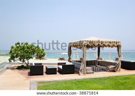 Hotel recreation area, Fujeirah, United Arab Emirates - stock photo