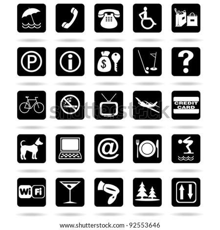 Hotel Resort Symbols Icons - stock photo