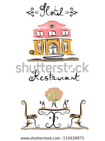 Hotel Restaurant icon and sign line art