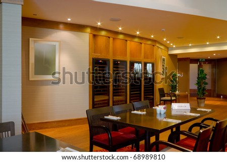 Hotel restaurant interior, table with  clean crockery