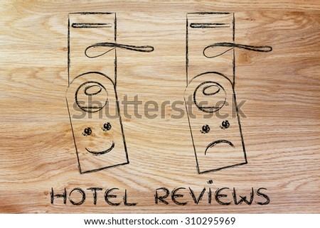 hotel reviews by guests: positive and negative feedback on door hangers - stock photo