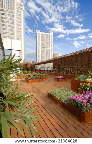 hotel roof-garden - stock photo