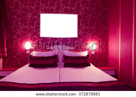 Hotel room at a brothel furnished modern where men hiring prostitutes - stock photo
