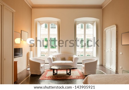 Hotel room, bed room - stock photo