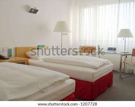 hotel room in a hotel, berlin - stock photo