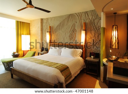 hotel-room in concept back to nature - stock photo