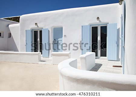 hotel room outdoor with minimal Cyclades architecture