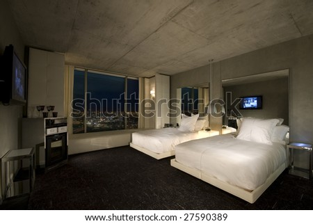 Hotel Room with a great view. - stock photo