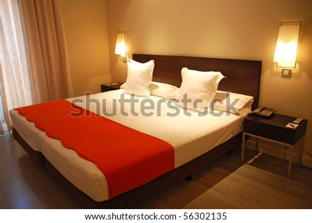 Hotel Room with Bed - stock photo